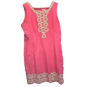 Lilly Pulitzer Adelson Shift dress pink gold Sz 16